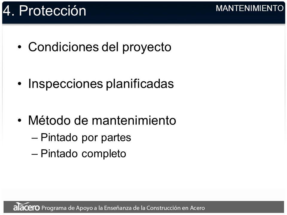 4. Protección Condiciones del proyecto Inspecciones planificadas