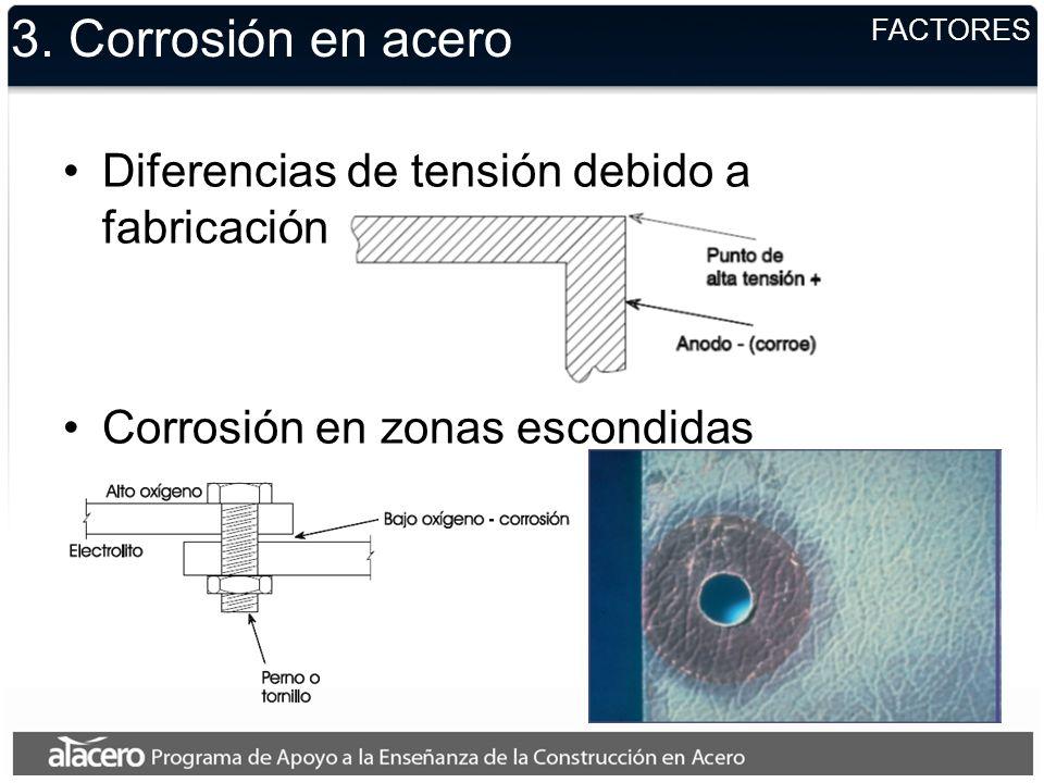 3. Corrosión en acero Diferencias de tensión debido a fabricación