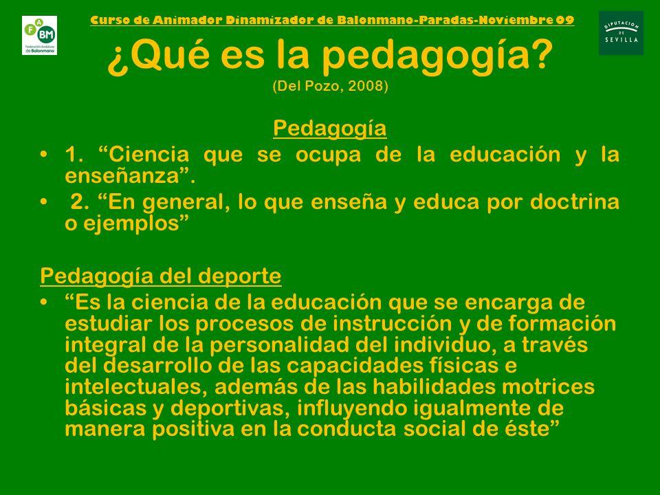 ¿Qué es la pedagogía (Del Pozo, 2008)