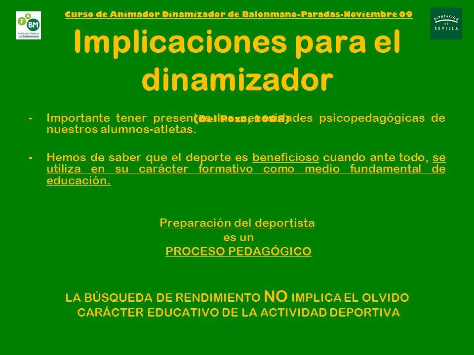 Implicaciones para el dinamizador (Del Pozo, 2008)