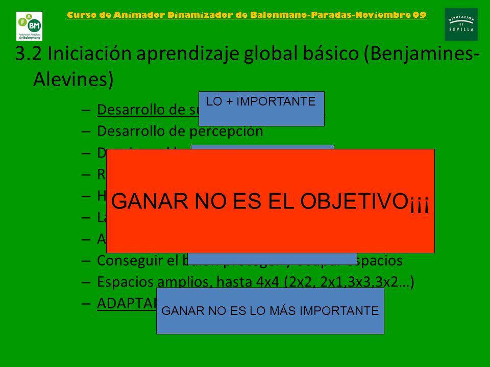 3.2 Iniciación aprendizaje global básico (Benjamines-Alevines)