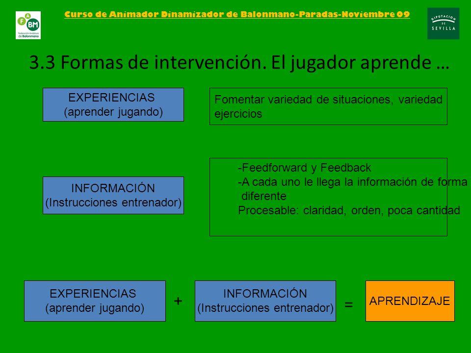 3.3 Formas de intervención. El jugador aprende …