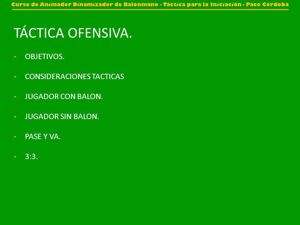 TÁCTICA OFENSIVA. OBJETIVOS. CONSIDERACIONES TACTICAS