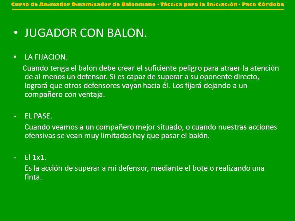 JUGADOR CON BALON. LA FIJACION.