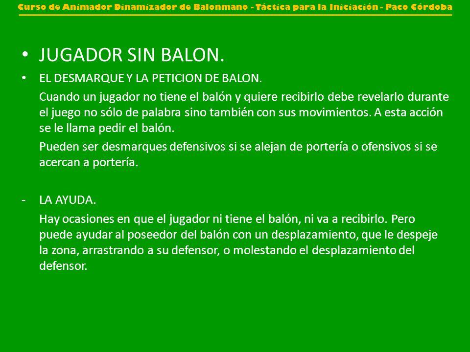 JUGADOR SIN BALON. EL DESMARQUE Y LA PETICION DE BALON.