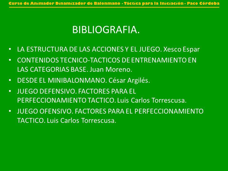 BIBLIOGRAFIA. LA ESTRUCTURA DE LAS ACCIONES Y EL JUEGO. Xesco Espar