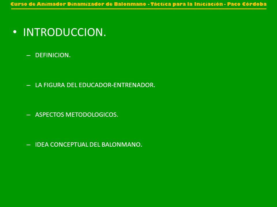 INTRODUCCION. DEFINICION. LA FIGURA DEL EDUCADOR-ENTRENADOR.