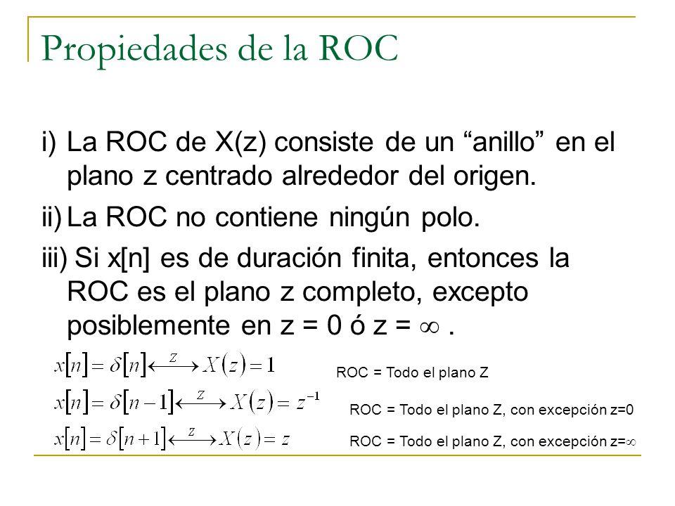 Propiedades de la ROC i) La ROC de X(z) consiste de un anillo en el plano z centrado alrededor del origen.