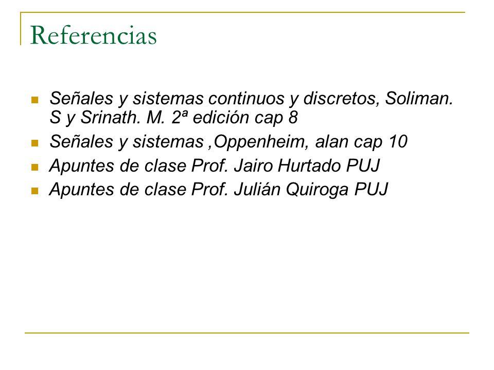 Referencias Señales y sistemas continuos y discretos, Soliman. S y Srinath. M. 2ª edición cap 8. Señales y sistemas ,Oppenheim, alan cap 10.