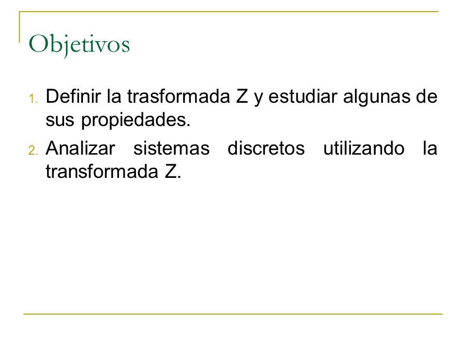Objetivos Definir la trasformada Z y estudiar algunas de sus propiedades.