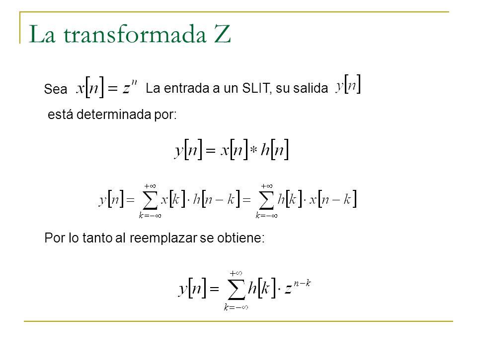 La transformada Z Sea La entrada a un SLIT, su salida