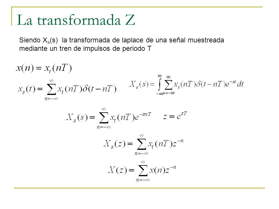 La transformada Z Siendo Xs(s) la transformada de laplace de una señal muestreada mediante un tren de impulsos de periodo T.