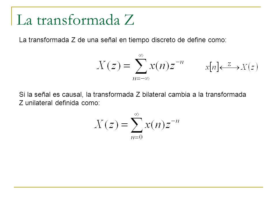 La transformada Z La transformada Z de una señal en tiempo discreto de define como: