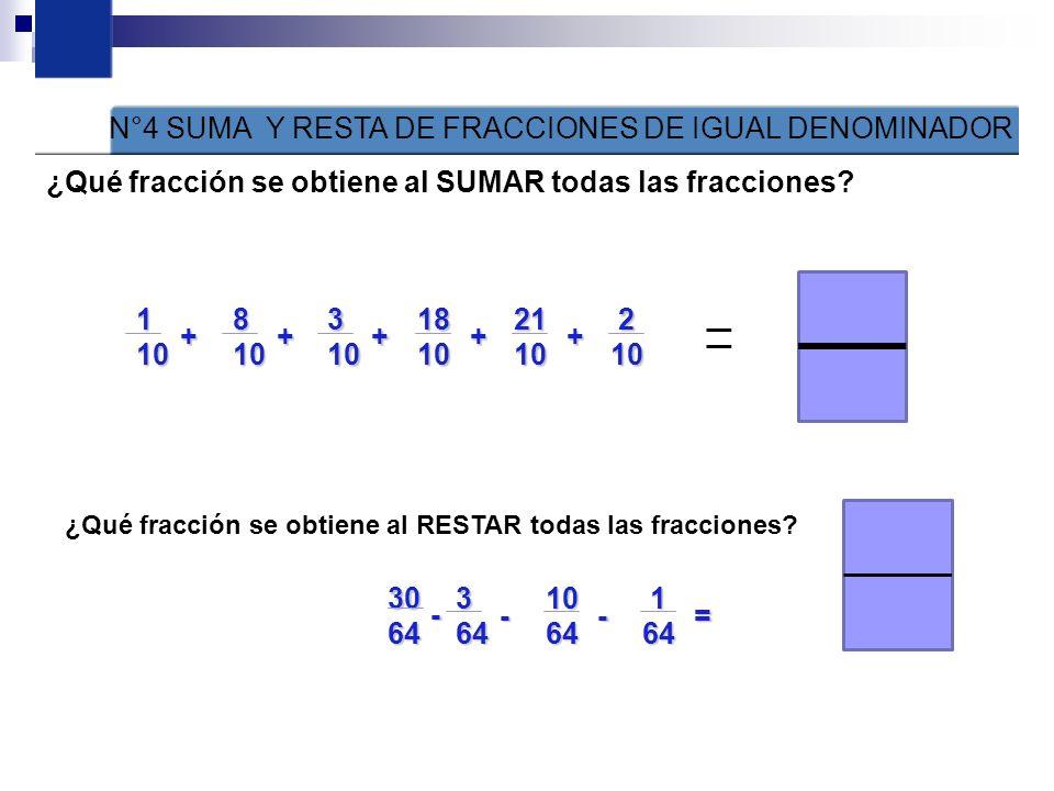 N°4 SUMA Y RESTA DE FRACCIONES DE IGUAL DENOMINADOR