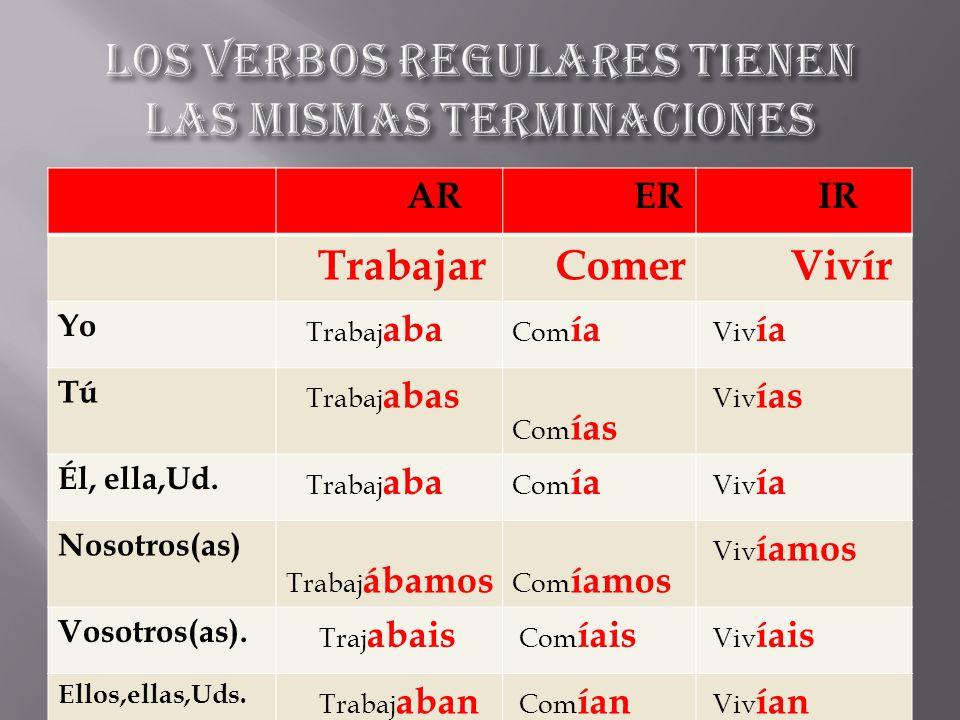 Los verbos regulares tienen las mismas terminaciones