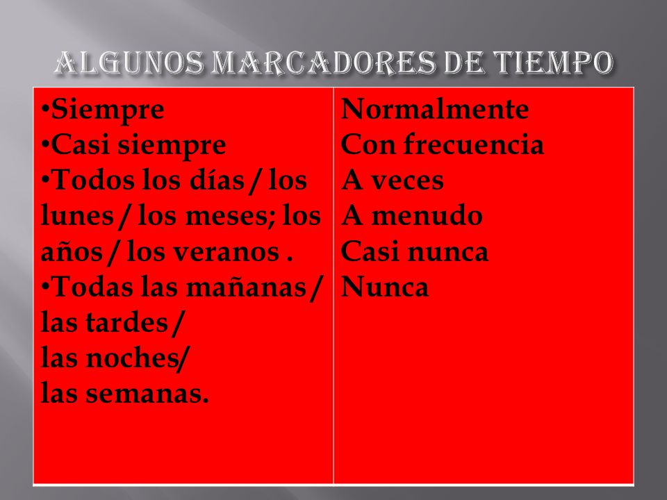 ALGUNOS MARCADORES DE TIEMPO