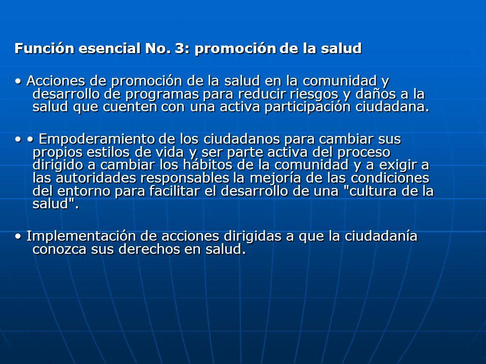 Función esencial No. 3: promoción de la salud