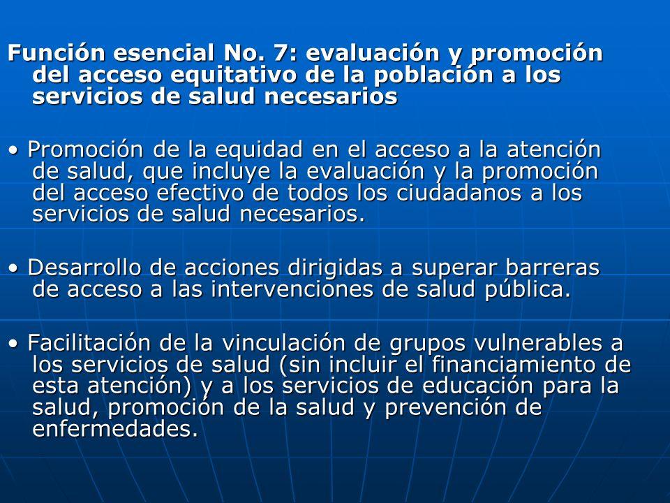Función esencial No. 7: evaluación y promoción del acceso equitativo de la población a los servicios de salud necesarios