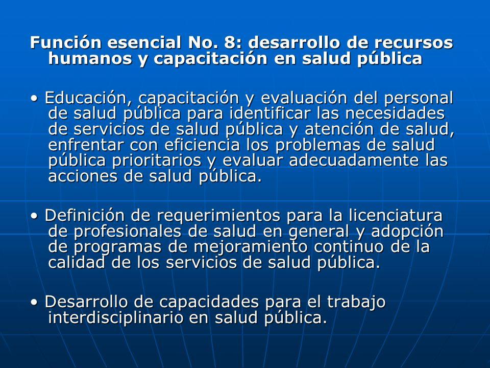 Función esencial No. 8: desarrollo de recursos humanos y capacitación en salud pública