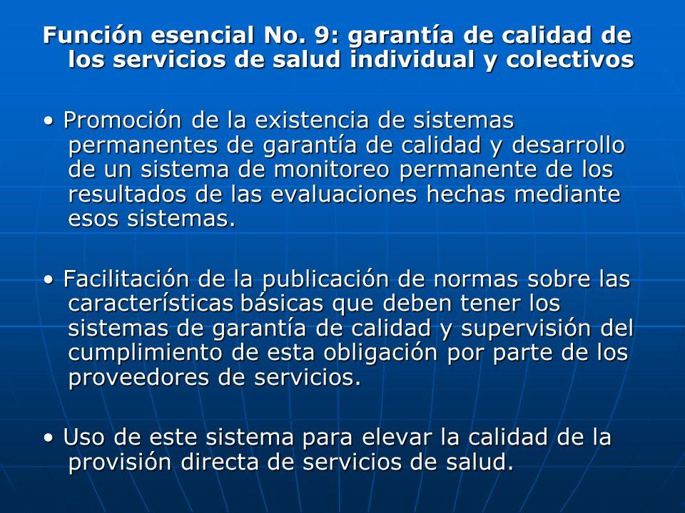 Función esencial No. 9: garantía de calidad de los servicios de salud individual y colectivos
