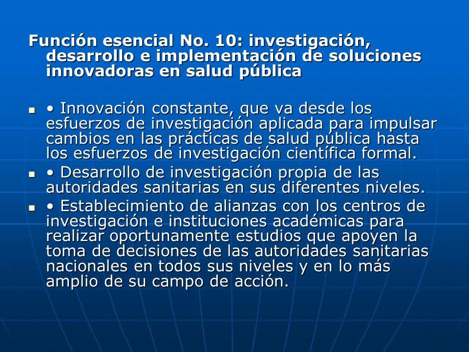 Función esencial No. 10: investigación, desarrollo e implementación de soluciones innovadoras en salud pública