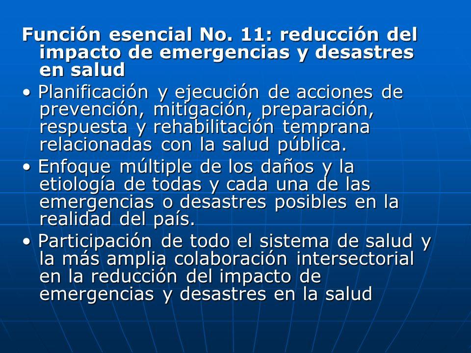 Función esencial No. 11: reducción del impacto de emergencias y desastres en salud