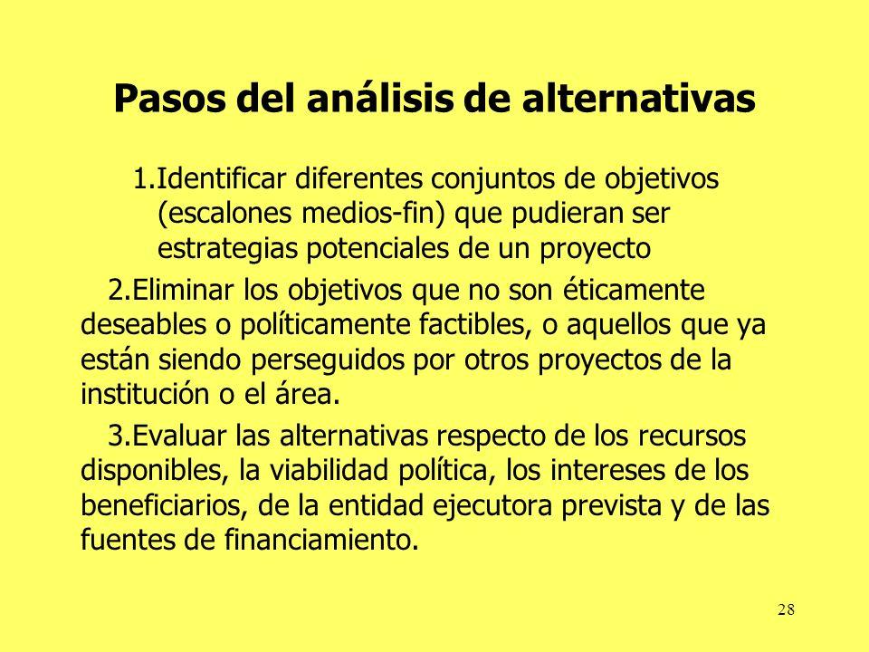 Pasos del análisis de alternativas
