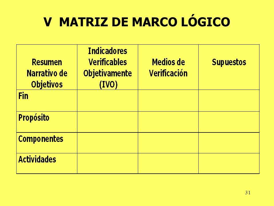 V MATRIZ DE MARCO LÓGICO