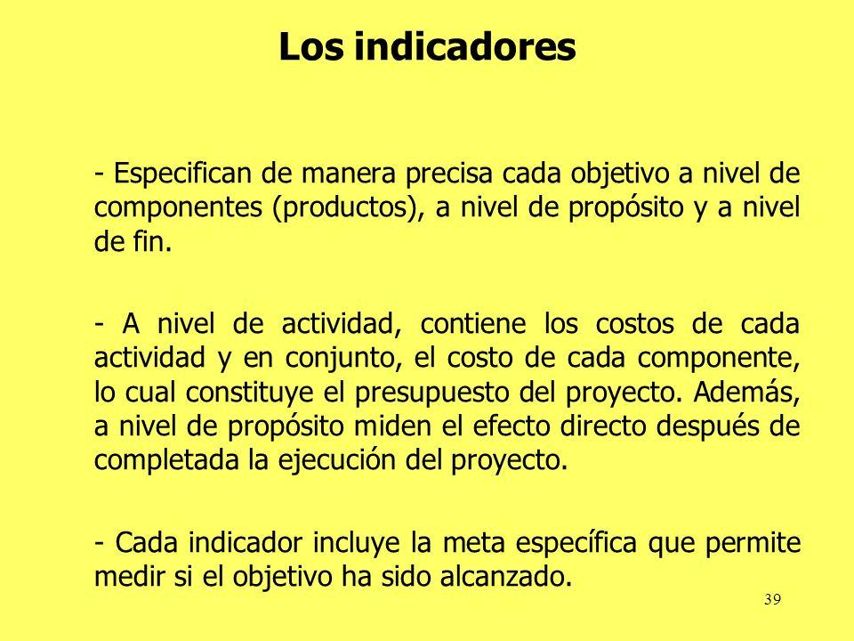 Los indicadores - Especifican de manera precisa cada objetivo a nivel de componentes (productos), a nivel de propósito y a nivel de fin.