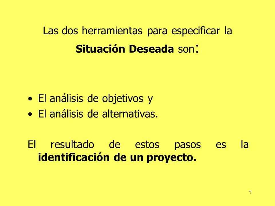 Las dos herramientas para especificar la Situación Deseada son: