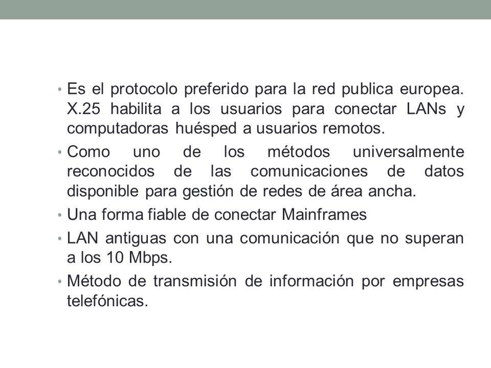Es el protocolo preferido para la red publica europea. X