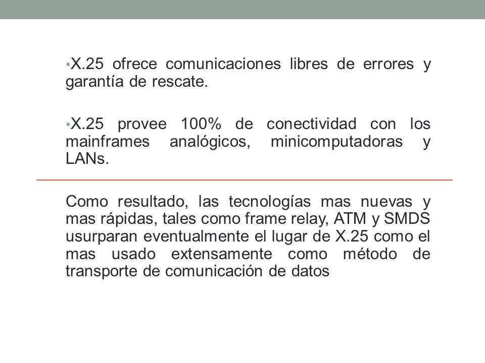 X.25 ofrece comunicaciones libres de errores y garantía de rescate.
