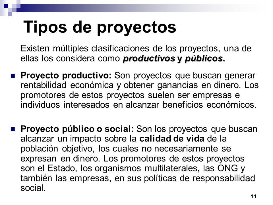 Tipos de proyectosExisten múltiples clasificaciones de los proyectos, una de ellas los considera como productivos y públicos.