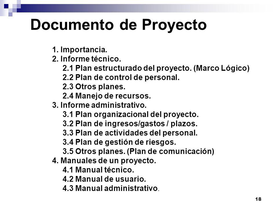 Documento de Proyecto 1. Importancia. 2. Informe técnico.
