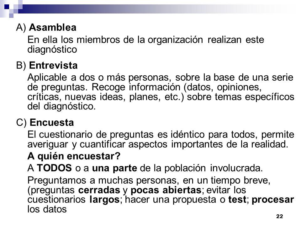 A) Asamblea En ella los miembros de la organización realizan este diagnóstico. B) Entrevista.