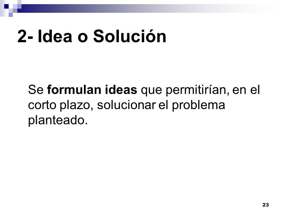 2- Idea o SoluciónSe formulan ideas que permitirían, en el corto plazo, solucionar el problema planteado.