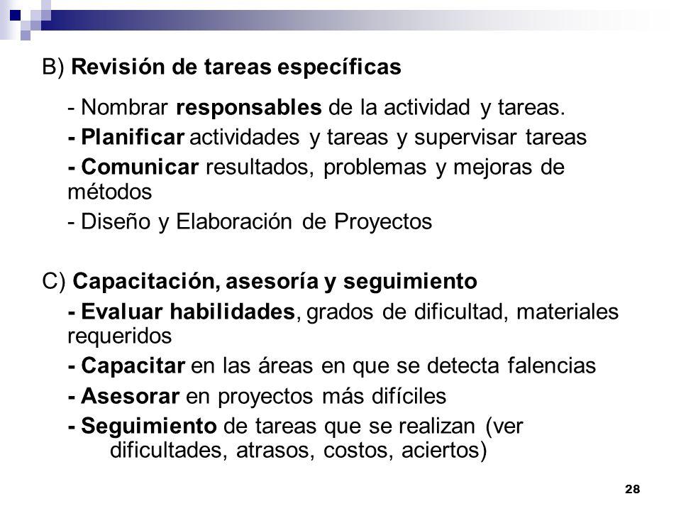 B) Revisión de tareas específicas