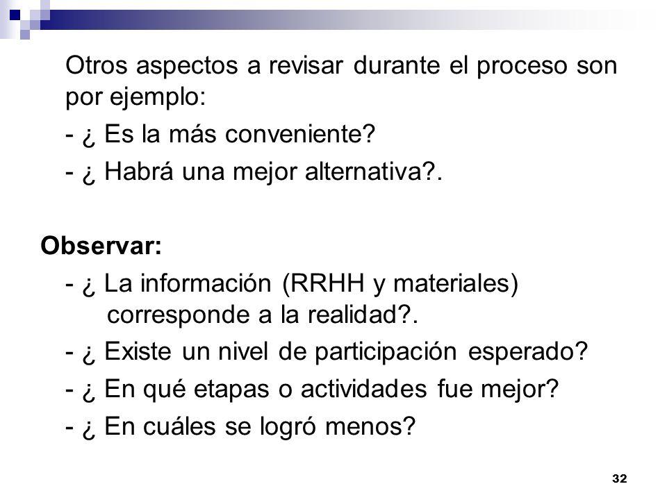 Otros aspectos a revisar durante el proceso son por ejemplo: