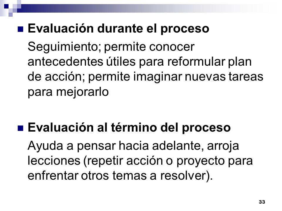 Evaluación durante el proceso
