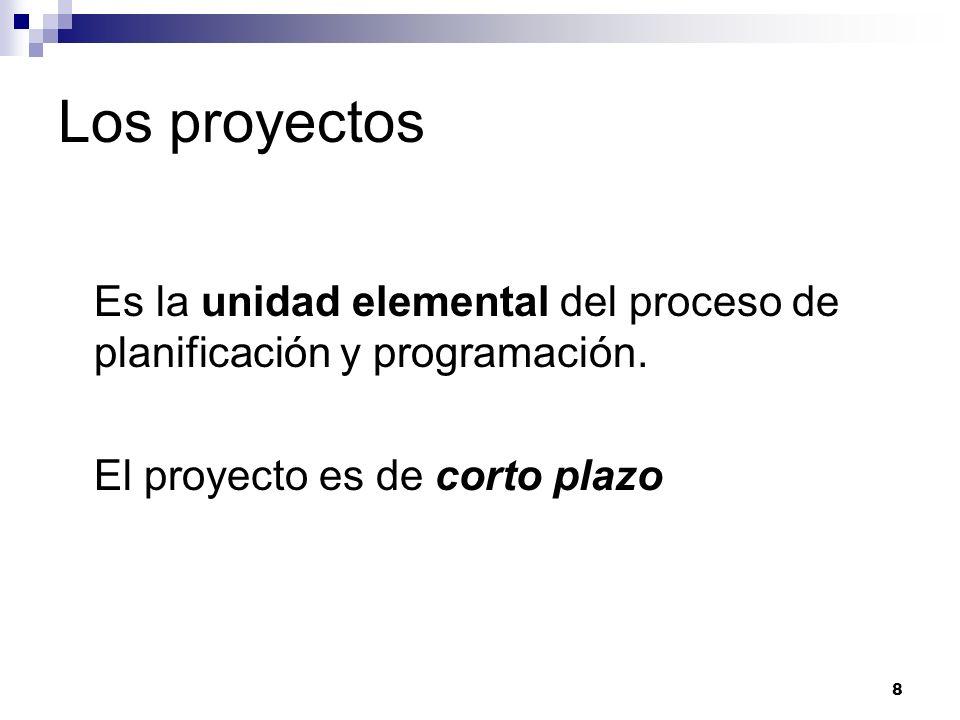 Los proyectos Es la unidad elemental del proceso de planificación y programación.