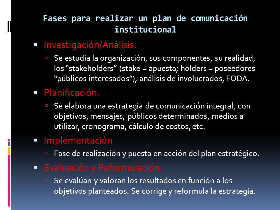 Fases para realizar un plan de comunicación institucional