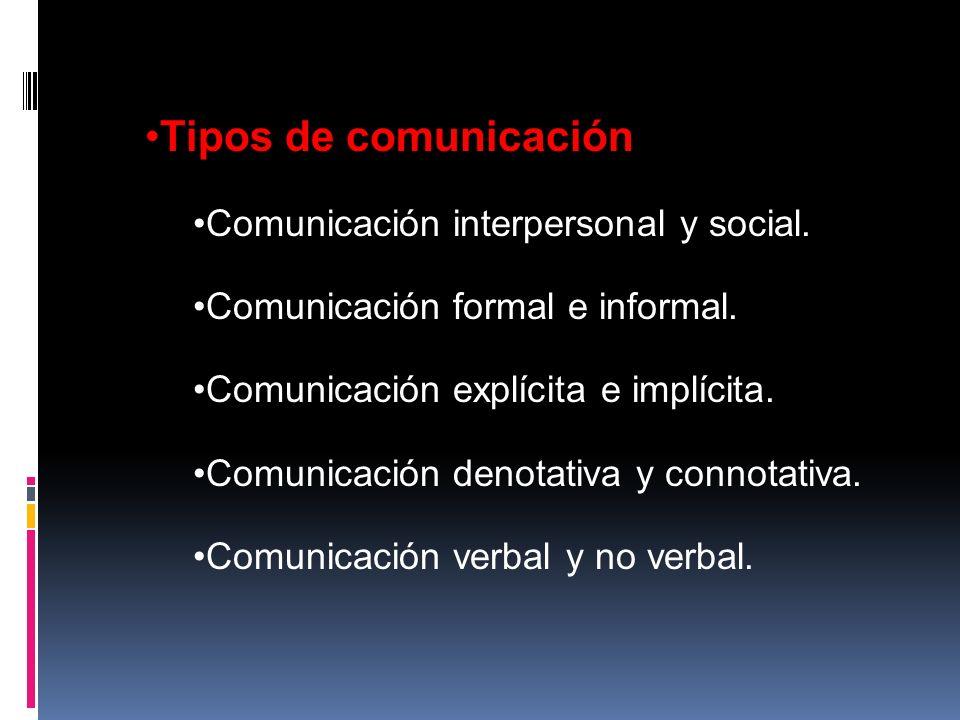 Tipos de comunicación Comunicación interpersonal y social.