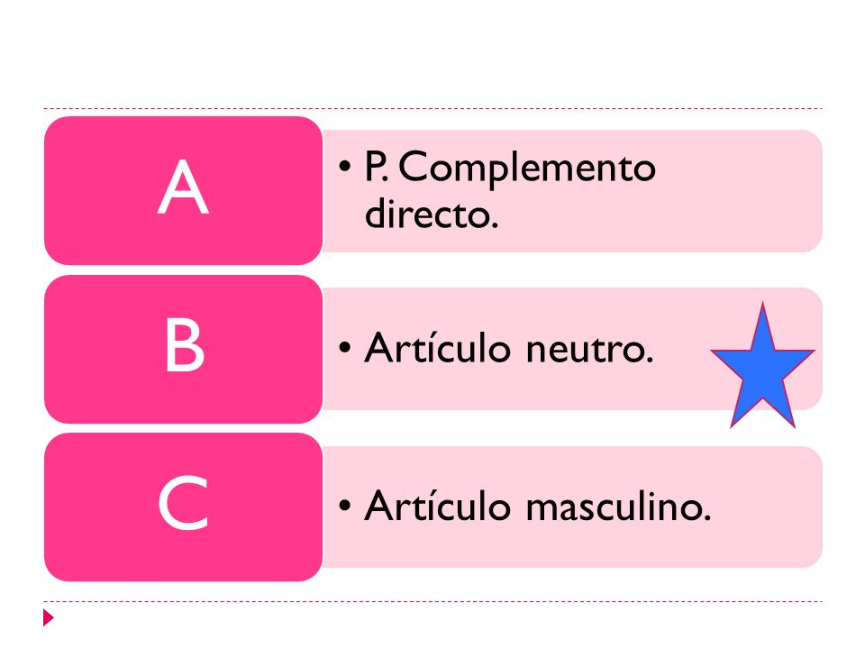 P. Complemento directo. A Artículo neutro. B Artículo masculino. C