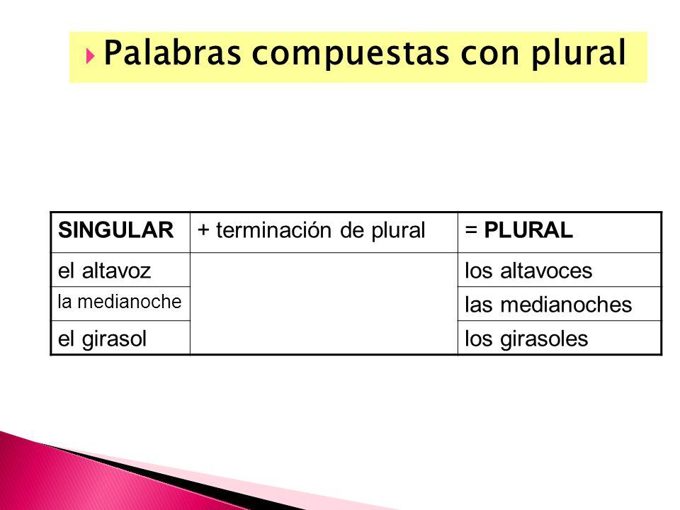 Palabras compuestas con plural