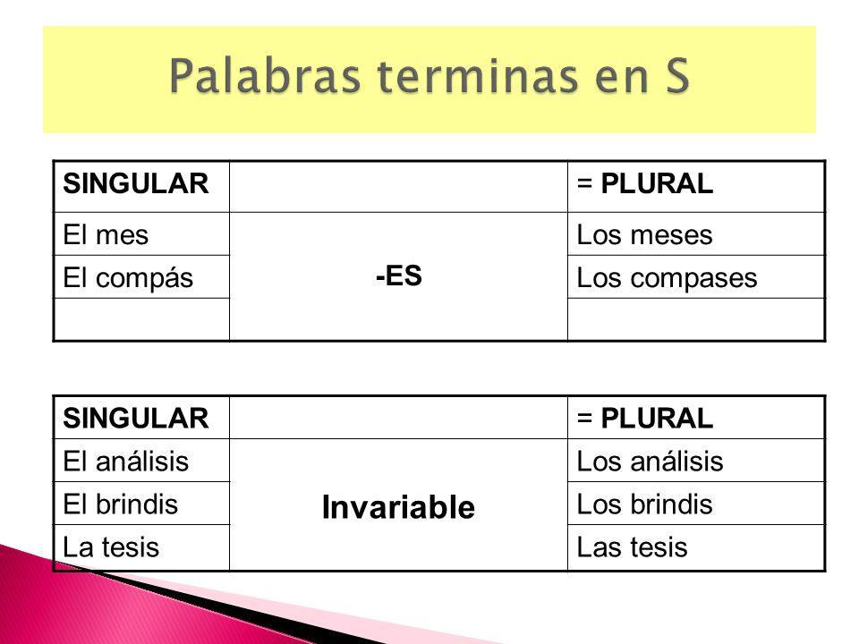 Palabras terminas en S Invariable SINGULAR = PLURAL El mes -ES