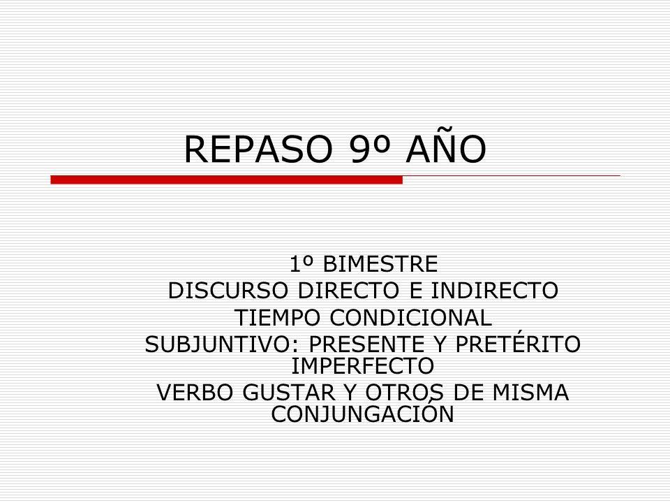 REPASO 9º AÑO 1º BIMESTRE DISCURSO DIRECTO E INDIRECTO