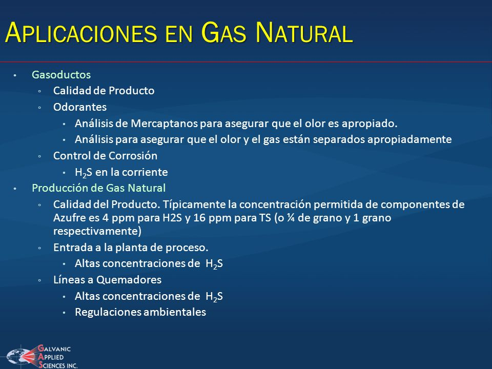Aplicaciones en Gas Natural