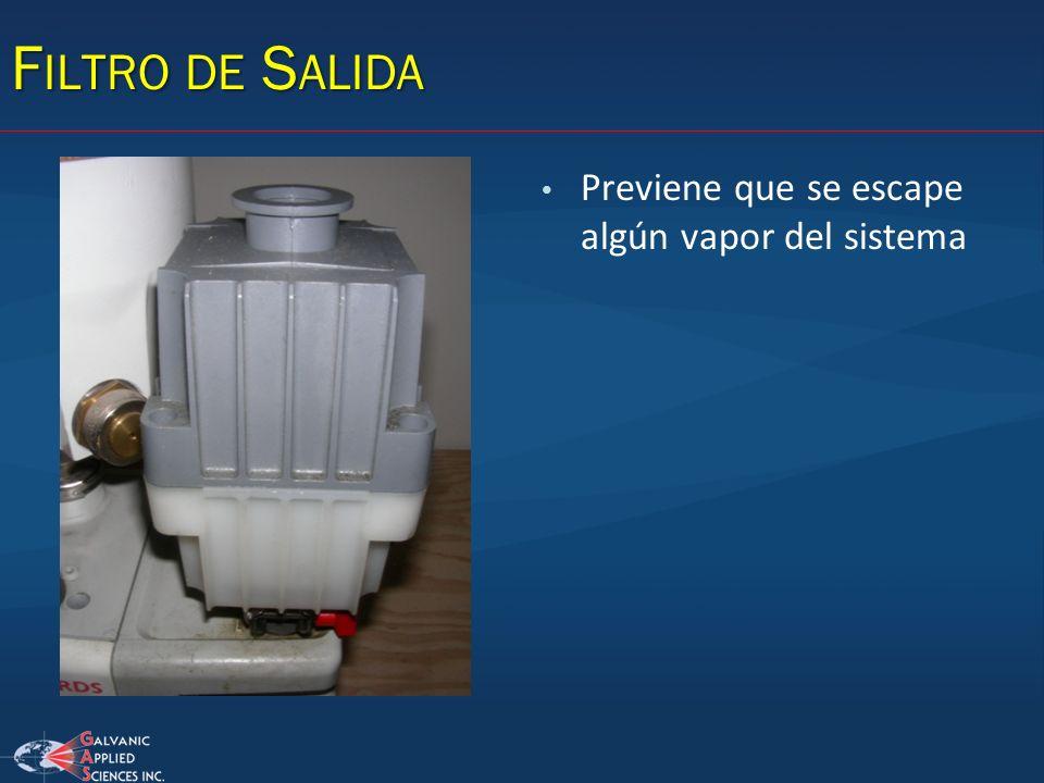 Filtro de Salida Previene que se escape algún vapor del sistema