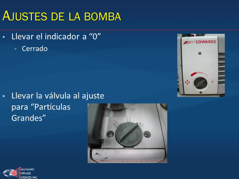 Ajustes de la bomba Llevar el indicador a 0