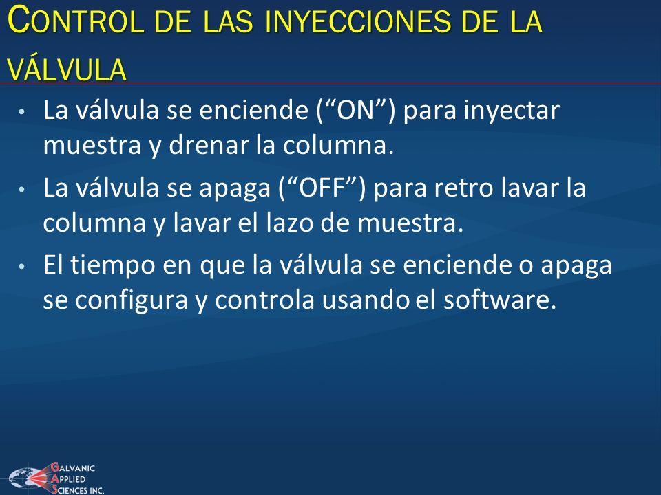 Control de las inyecciones de la válvula